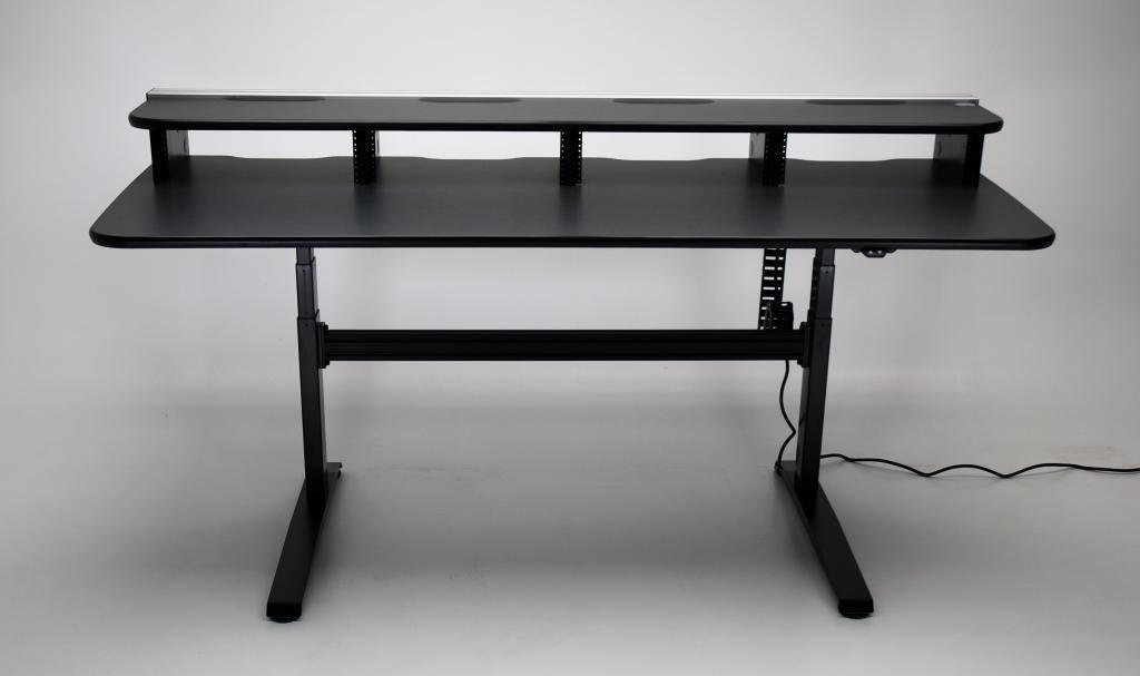 video editing desk, editing desk, electric desk, ergonomic desk, height adjustable console, height adjustable desk,UNISET, PROEDIT, PRO EDIT, PRO-EDIT, Editing furniture, behind the scenes desk, dual height desk, Sit/stand desk, sit stand desk, electric, ergonomic