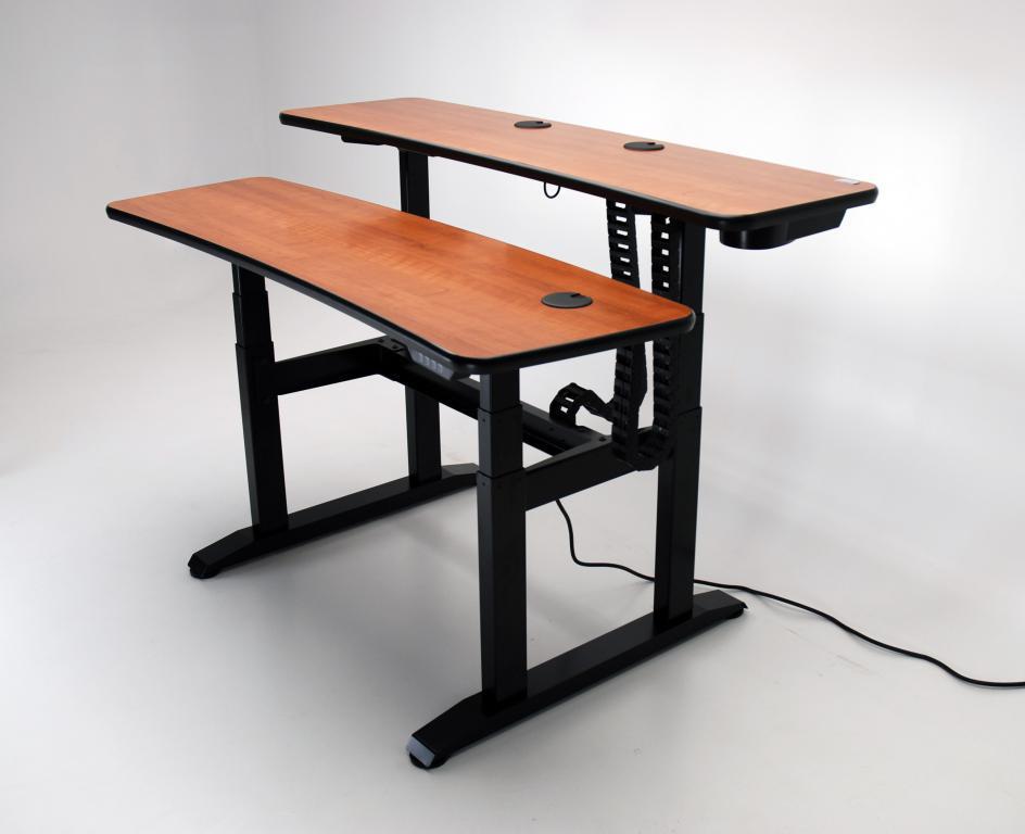 UNISET, PROEDIT, PRO EDIT, PRO-EDIT, Editing furniture, behind the scenes desk, dual height desk, Sit/stand desk, sit stand desk, electric, ergonomic