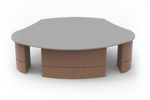 NUNS Desk System, Modular Desk System, Versatile Desk, Multi Top Desk, broadcasting desk, interview desk, studio desk, set desk, UNISET, Uniset company, uniset corp