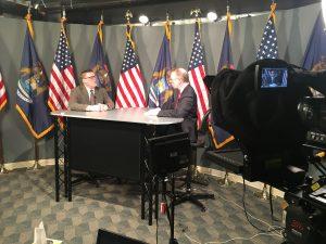 News desk, interview desk, broadcast desk