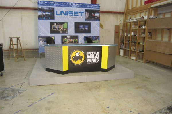 Buffalo Wild Winds, News Desk, UNIPRO Desk, Custom side panels, Interview news desk, sports desk