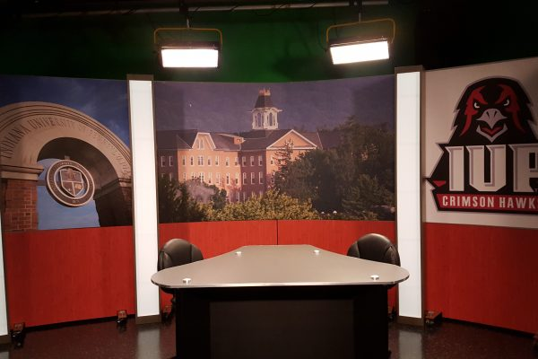 IUP Student broadcast production interview news desk and set background for student broadcasting productions