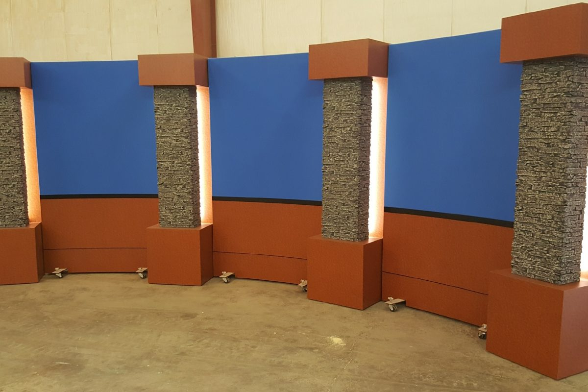 Rolling Panel System, modular set background, mobile set background, reversible set background, two sided set background, Penn State, Columns, LED columns, UNISET, Set Accessories, add ons, set elements, set background, studio accessories, studio backgrounds