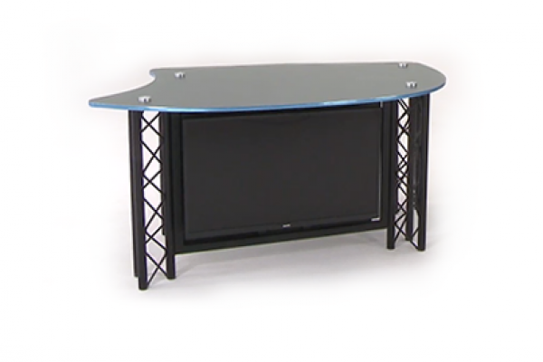 News interview desk with monitor on front for broadcast and tv productions