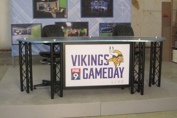 UNIPRO Desk system, Minnesota Vikings, standard height news desk, Vikings Game Day, Interview news desk, sports desk,