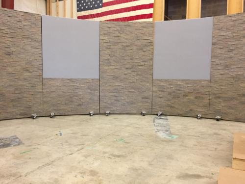 16 West Studio Set Background Rolling Panel System with grey veltex and faux stone