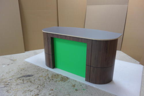 tv studio news desk / anchor desk for broadcast productions  with Chroma key green insert