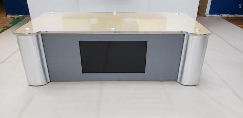 Custom news interview desk with acrylic top and LED integrated lights