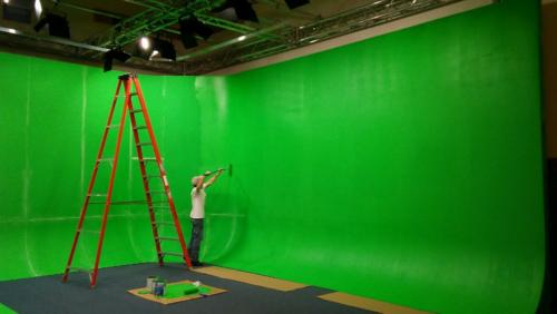 Installation in progress. 16 foot free standing green screen cyclorama