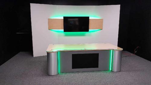 custom anchor desk and news background with metal and led integrated lights