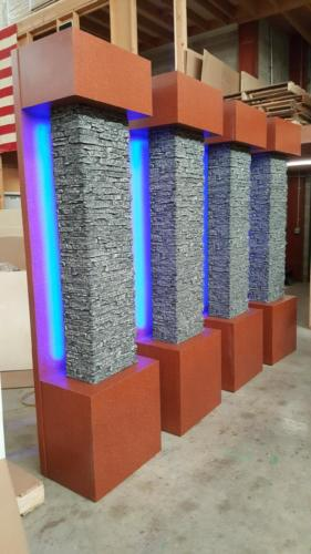 Penn State, Columns, LED columns finished in grey faux stone