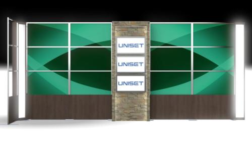 Rendering- Transition Panels, Custom fabricated stone monitor wall, light box columns