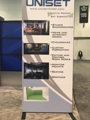 Transition Panel at NAB 2018 with a removable graphic over Transition Panel - Front side