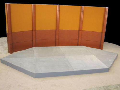 Wall Column System  -Orange veltex uppers and cognac birds eye lowers