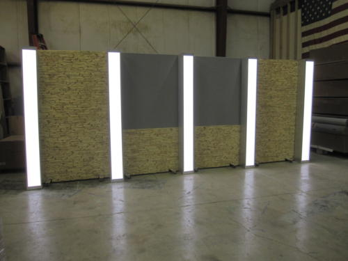 light tan Faux stone RP system with 2 grey veltex upper panels and light box columns