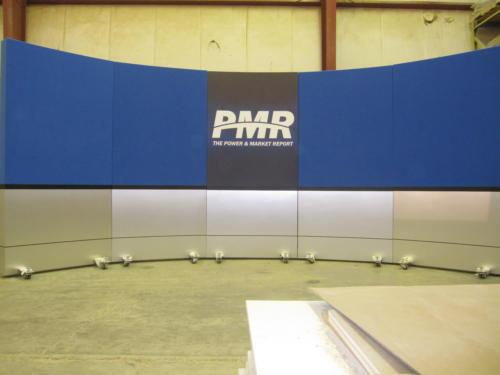 tv studio set design for news desk background with brushed aluminum