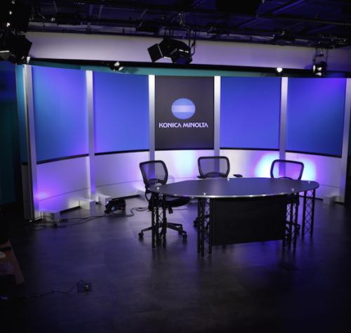 tv studio set design for news desk background