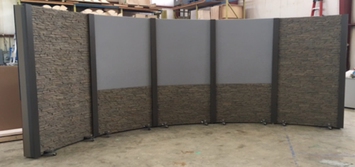 4' 5 panel rolling panel system with 2 full height faux stone, 3 upper grey veltex and faux stone knee walls with dark gray columns